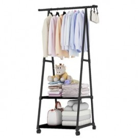 image of Multipurpose Bedroom Clothes Garment Organizer Rack with Wheels
