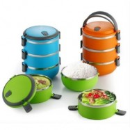image of Round Shape 3-Layer Stainless Steel Lunch Box - Blue/Orange/Green