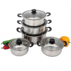 image of Stainless Steel Cooking Pot Set (10 Pcs)