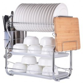 image of B-Shaped 3 Layer Steel Dish Rack with Knife & Cutting Board Compartments