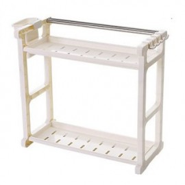 image of Multipurpose Double Layer Kitchen Organizer Rack With Side Hook - White/Brown