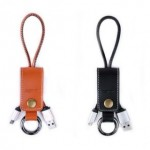 Remax Western RC-034 Micro & iPhone Cable with Leather Ring Clip - Black/Brown