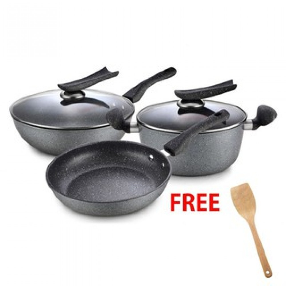 Non-Stick Maifan Health Stone Coating Cook Set (5 Pcs)