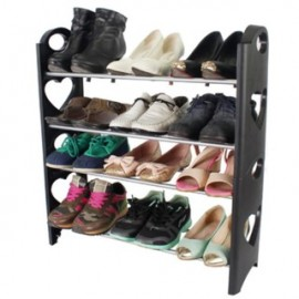 image of DIY 4-Tier Stackable Simple PP Shoe Rack - Black