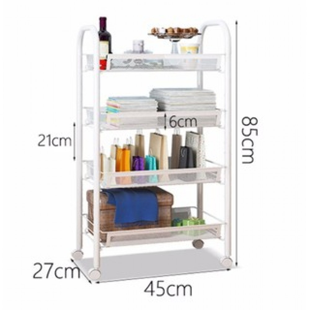 Modern Home 4-Layer Metal Mesh Organizer Portable Rack - White