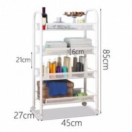 image of Modern Home 4-Layer Metal Mesh Organizer Portable Rack - White