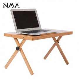 image of Convenient Portable Wooden Mini Adjustable Bed Table Set