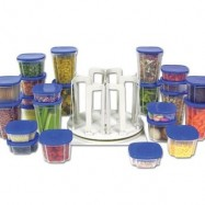 "image of Spin ""N"" Store Food Storage Kitchen Storage (49 Pcs) - Blue/Red"