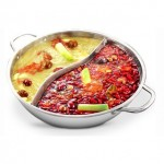 Ying Yang Steel Steamboat Pot with Cover Lid (36CM)