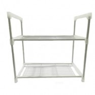 image of Multipurpose Creative 2-tier Metal Shelf Rack (White)