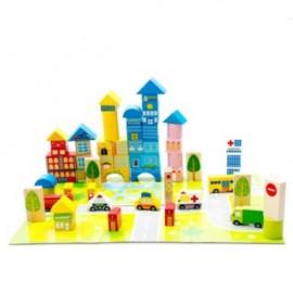 image of City & Transportation Children Wooden Building Block with Mat (62 Pcs)