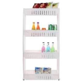 image of Multipurpose 4-Layer Kitchen Slim Storage Rack Organizer - White/Green/Blue