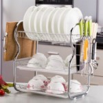 Multipurpose Double Layer Kitchen Organizer Rack With Side Hook - White/Brown