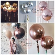 "image of 18"" Rose Gold Orbz Balloon 4D Orbz Balloon Metalic Rose Gold Silver Gold"