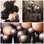 "18"" Rose Gold Orbz Balloon 4D Orbz Balloon Metalic Rose Gold Silver Gold"