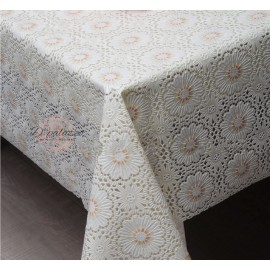 image of Waterproof Oil Proof PVC Table Cover Table Cloth Full White Flower Design Dining
