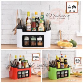 image of Multifunction Kitchen Organizer Knife Organizer with 6 Seasoning container