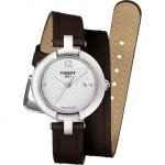 Tissot Pinky Double Wrap Brown Strip Ladies Watch Vintage T084.210.16.017.03