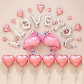 image of Valentine Day I Love You Flamingos Surprise Party Decoration Balloons Set