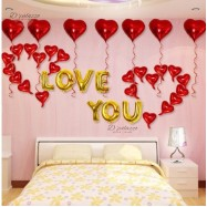 image of (Ready stock) LOVE YOU Gold Color Wording With Red Love Shape Balloon Decoration