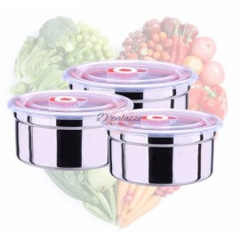 image of 3pcs 304 Stainless Steel Storage Box Container Lunch Box Refrigerated Food