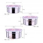 3pcs 304 Stainless Steel Storage Box Container Lunch Box Refrigerated Food