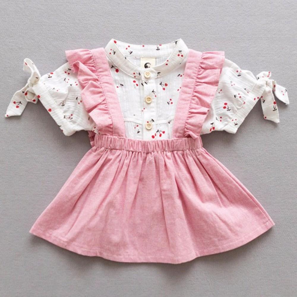 8aee32136 Baby Girls Korea Style Short-sleeved Shirt + Denim Strap Skirt Set