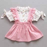image of Baby Girls Korea Style Short-sleeved Shirt + Denim Strap Skirt Set