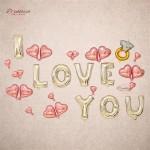(Ready Stock) I LOVE YOU Diamond Surprise Balloon Decoration