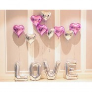 image of LOVE Pink & Silver Surprise Valentine Decoration Balloon Set