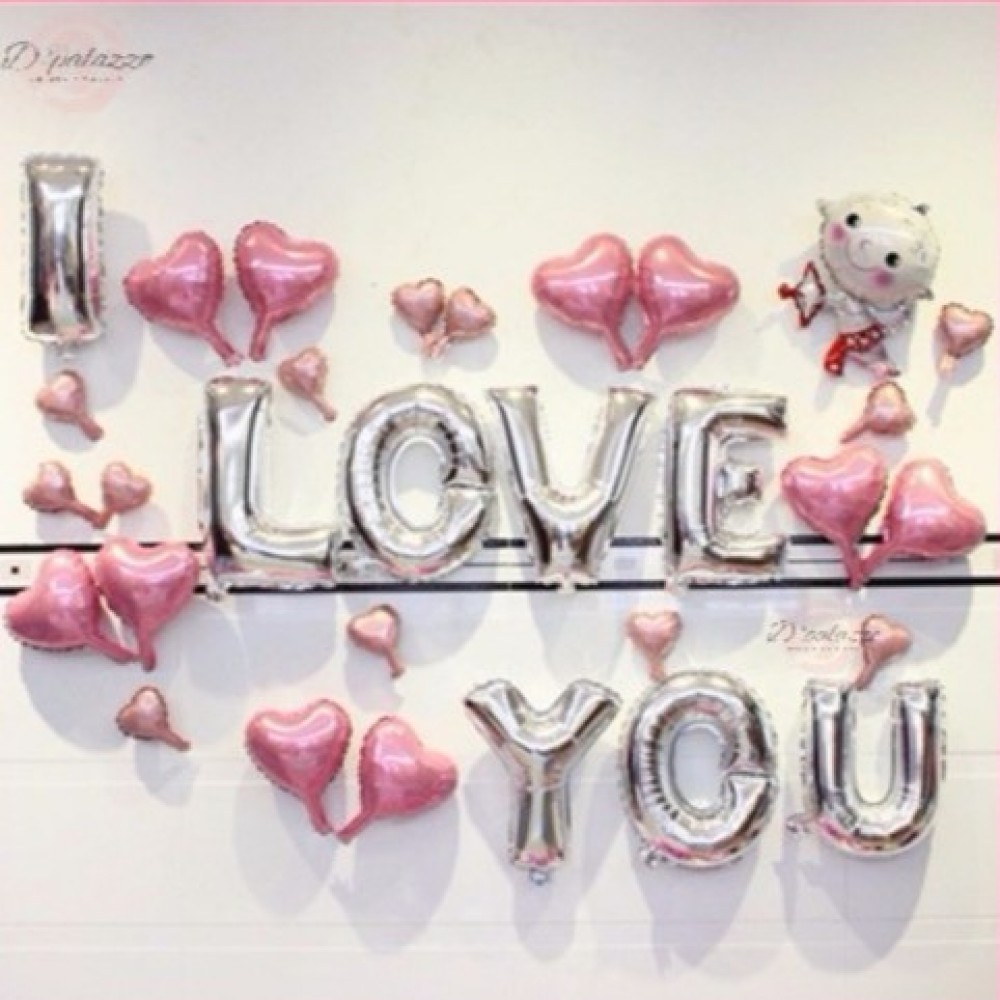 I LOVE YOU Cupid Pink Silver Surprise Party Decoration Balloon Set