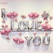 image of I LOVE YOU Cupid Pink Silver Surprise Party Decoration Balloon Set