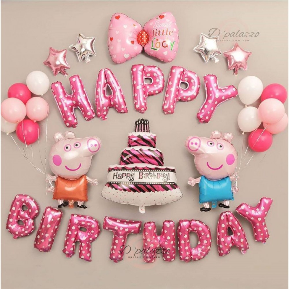 Baby Birthday Peppa Pig Happy Birthday Party Balloon Set [READY STOCK]