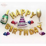 image of Happy Birthday Party Champagne And Wine Balloon Set