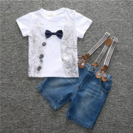 image of Kid Boy Clothing Summer T-shirt + Jeans Short Pants + Cowboy suspenders