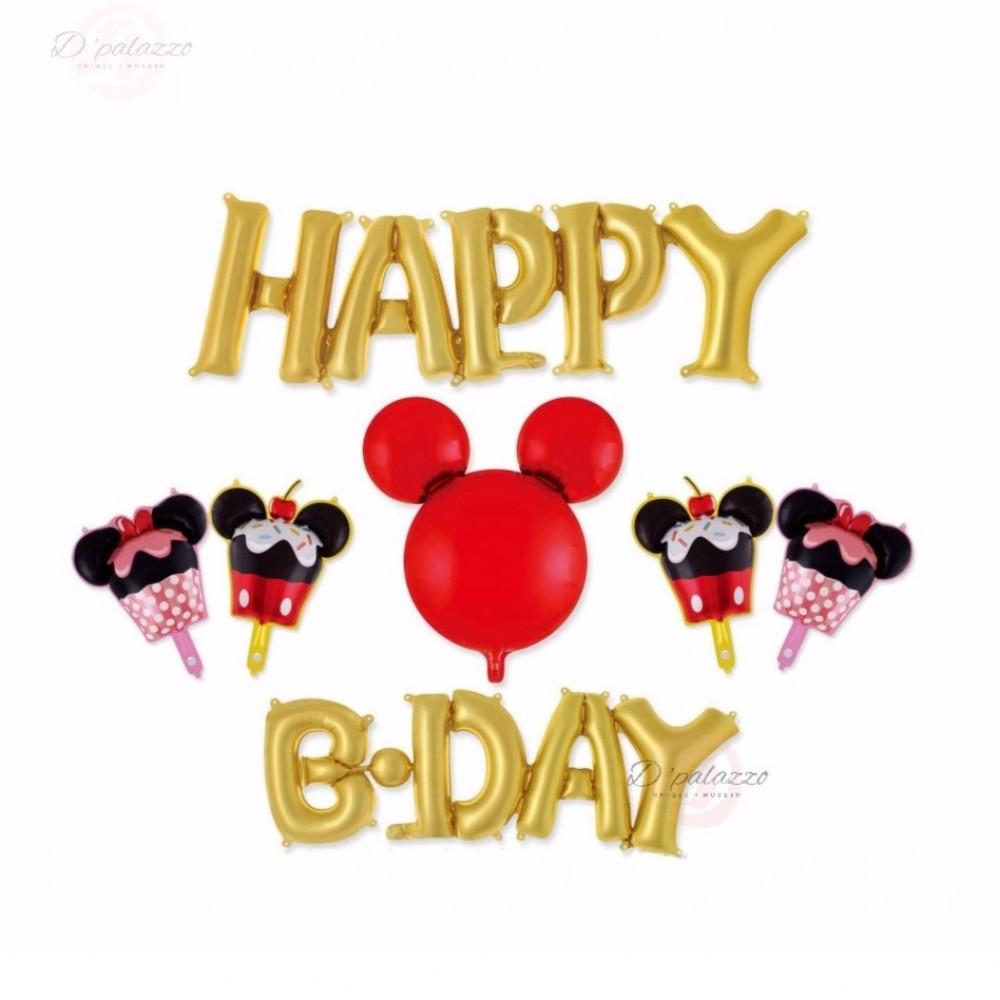 Happy Birthday Disney Theme Mickey Mouse Minnie Party Decoration Balloon Set