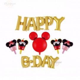 image of Happy Birthday Disney Theme Mickey Mouse Minnie Party Decoration Balloon Set