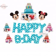 image of Happy Birthday BLUE Wording Disney Theme Mickey Mouse Party Balloon Set 米奇