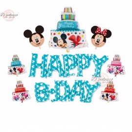 image of Happy Birthday BLUE Wording Disney Theme Mickey Mouse Party Balloon Set 米奇