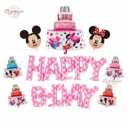 image of Happy Birthday PINK Disney Mickey Mouse Party Decoration Balloon Set 米奇