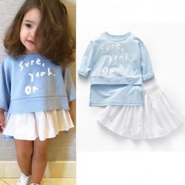 image of Kid Baby Girls Fashion Long Sleeve Shirt + Mini Skirt Outfit Set (Shirt + Skirt)