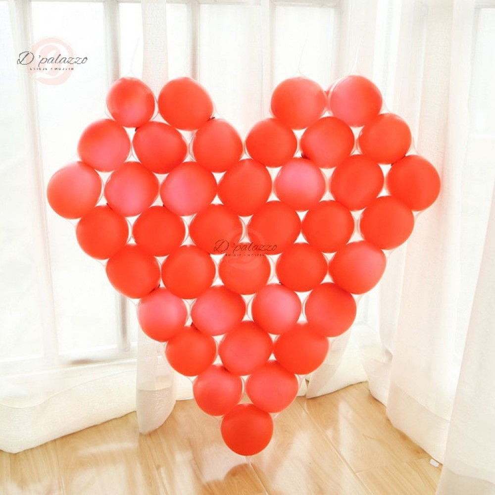 Love Shape Net 5 inches Latex Balloon Decoration (Net+38 Pink Balloon+6 Backup)