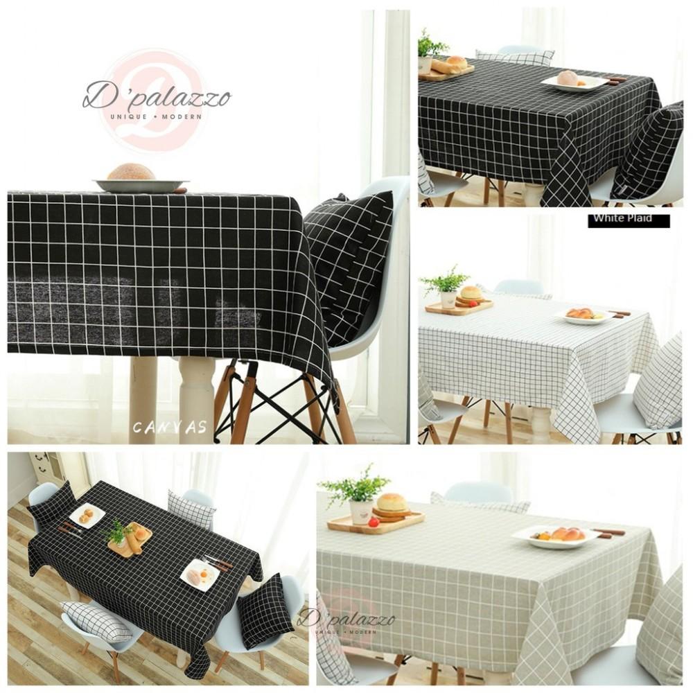 Elegant Cotton Linen Plaid Table Cloth Table Cover Dustproof Dinner Dinning