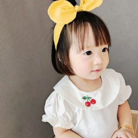 image of Baby Girl Cherry Embroidery Fashion T-shirt Cute Kid Clothing