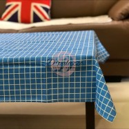 image of Elegant Cotton Linen Plaid Table Cloth Table Cover Dustproof Dinning Sky Blue