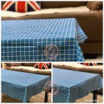 Elegant Cotton Linen Plaid Table Cloth Table Cover Dustproof Dinning Sky Blue