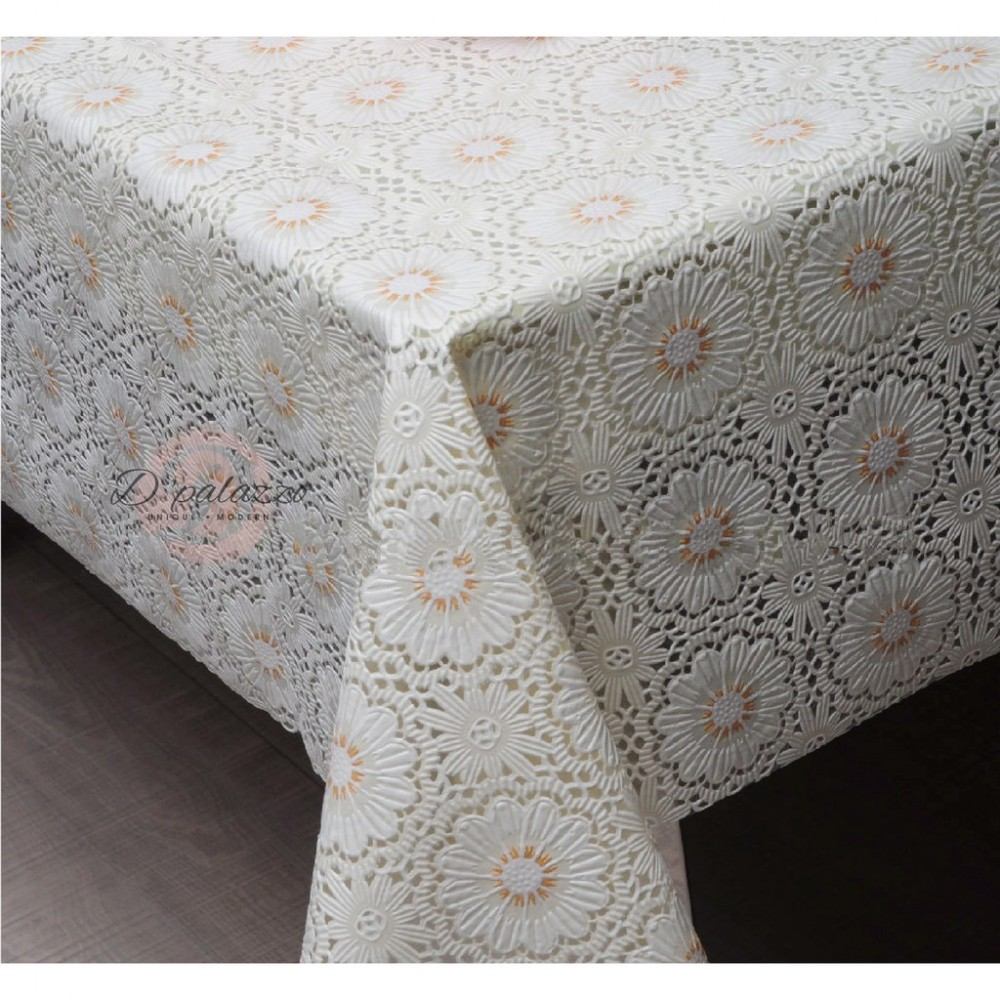 Waterproof Oil Proof PVC Table Cover Table Cloth Full White Flower Design Dining