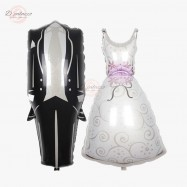 image of Bride Bridal Wedding Tuxedo Dress Foil Balloon Decoration