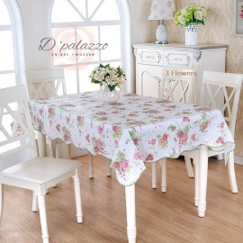 image of Waterproof Oil Proof PVC Table Cover Table Cloth 3 Flower Design Home Dining