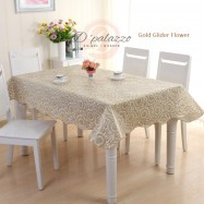 image of Waterproof Oil Proof PVC Table Cover Table Cloth Bronzing Flower Design